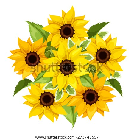Vector bouquet of orange and yellow sunflowers isolated on a white background. - stock vector