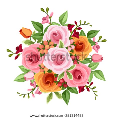Vector bouquet of pink and orange roses and freesia flowers and green leaves on a white background. - stock vector