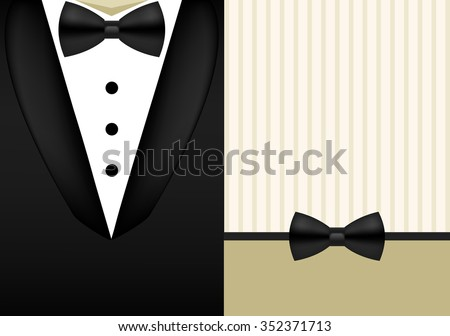 Vector bow tie tuxedo invitation design template holiday background - stock vector