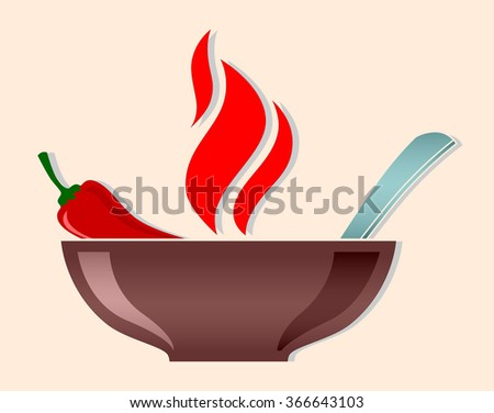 vector bowl with red hot chili pepper and flames burning soup isolated outline illustration - stock vector