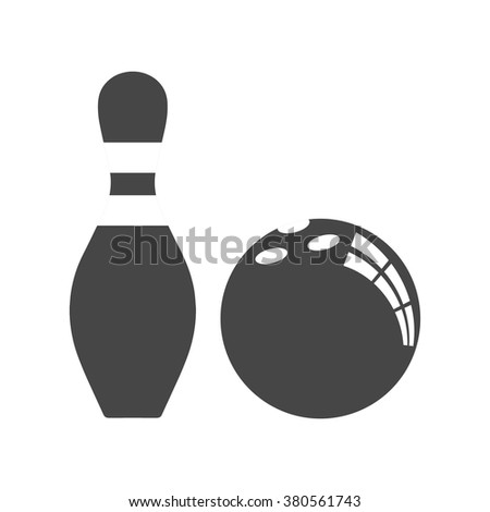 Vector bowling ball and bowling pin flat icon. Isolated on white background. Stock vector illustration. - stock vector