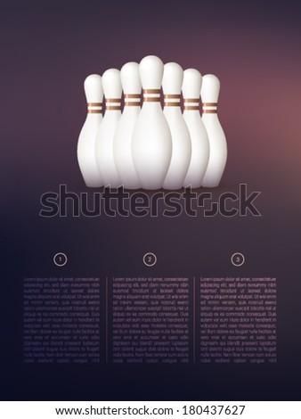 vector bowling pins  - stock vector