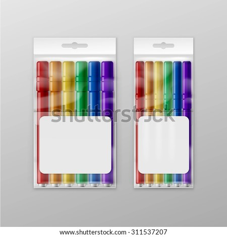 Vector Box of Colored Felt-tip Pens Markers Isolated on Background - stock vector