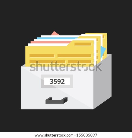 Vector Box with Documents - stock vector