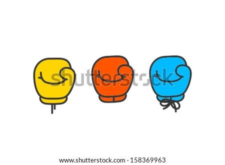Vector Boxing Gloves Icon Symbol Set - stock vector
