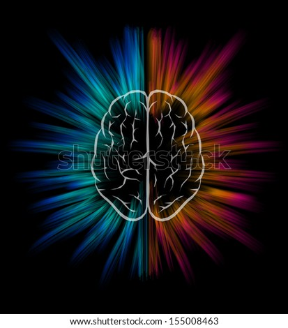 Vector brain and explosion on black background. Elements are layered separately in vector file.  - stock vector