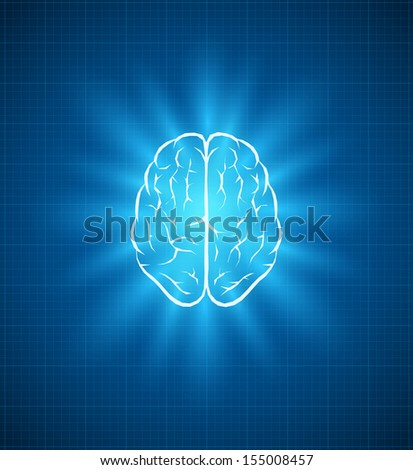 Vector brain blueprint. Elements are layered separately in vector file.  - stock vector