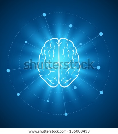 Vector brain design template. Elements are layered separately in vector file.  - stock vector