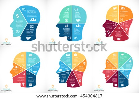Vector brain infographics set. Template for human head diagram, cycle graph, presentation and face chart. Business idea concept with 3, 4, 5, 6, 7, 8 options, parts, steps or processes. Brainstorming. - stock vector