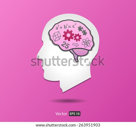 Vector Brain - Left Hemisphere in Man Head from Side view - stock vector