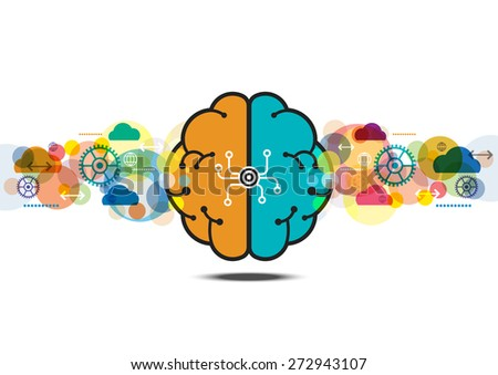 vector brain process creative concept, abstract communication wave background - stock vector