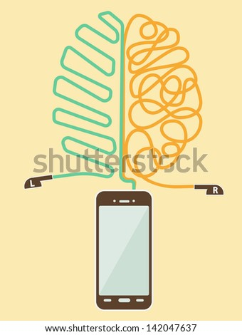 Vector brain training with modern smart phone - stock vector