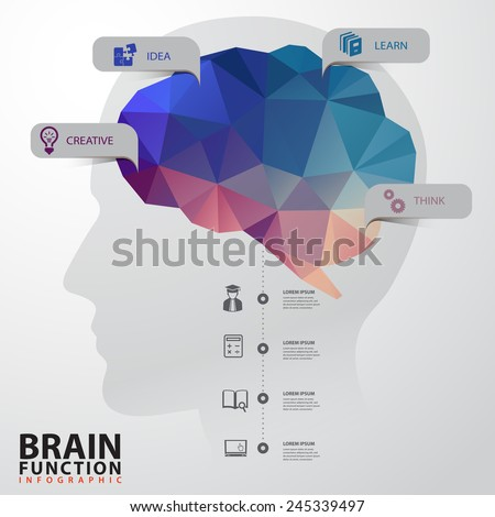 Vector Brain with Human Head infographics Design Conceptual Polygon Style - stock vector