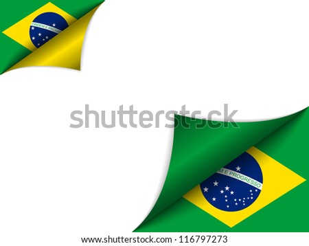 Vector - Brazil Country Flag Turning Page - stock vector
