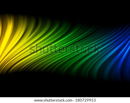 Vector - Brazil Flag Wave Yellow Green Blue Background - stock vector
