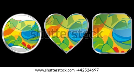 Vector Brazil Summer 2016 Games Rio de Janeiro abstract web buttons of different shapes with chrome isolated on black background. graphic design elements. clip art illustration - stock vector