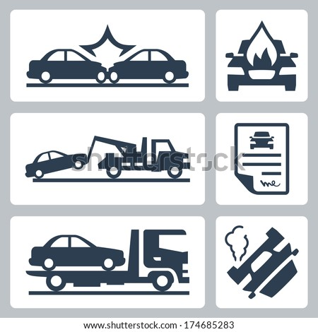 Vector breakdown truck and car accident icons set - stock vector
