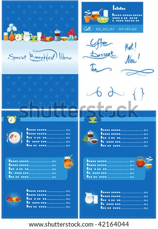 Vector Breakfast Menu and business card for cafe - stock vector