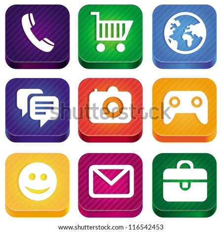 Vector bright app icons - technology pictogram and square buttons - stock vector