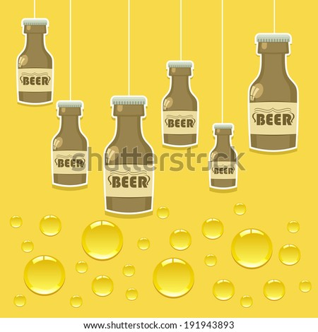 Vector bright background with beer bottles - stock vector