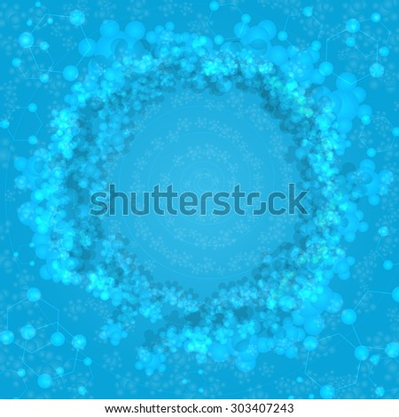 Vector bright blue abstract background with molecules or bubbles - stock vector
