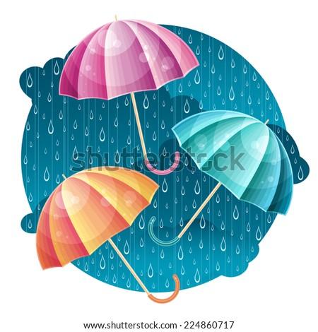Vector bright colorful umbrellas under the raindrops - stock vector