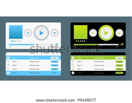 Vector bright contrast audio players with control navigation panel in two colors - stock vector