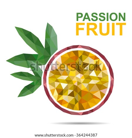 vector bright cut Passion fruit slices. Logo Passion fruit slices with green leaves  - stock vector