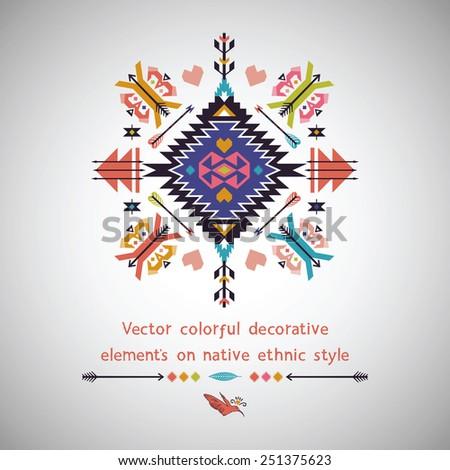 Vector bright decorative element on aztec style - stock vector