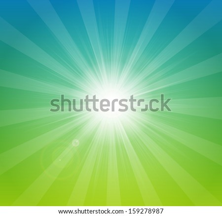 Vector bright summer background with sun rays - stock vector