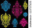 Vector Bright Victorian Ornament Set. Easy to edit. - stock vector