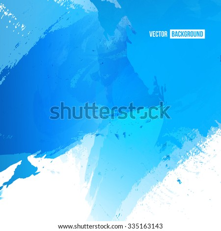 Vector Bright watercolor stains. Blue ink and splatter - stock vector