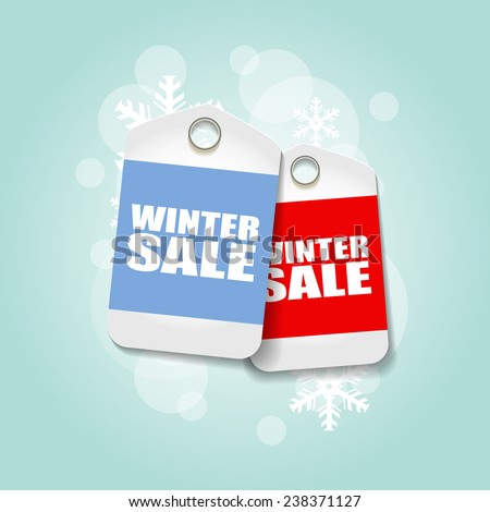 Vector bright winter sale banners with snow - stock vector