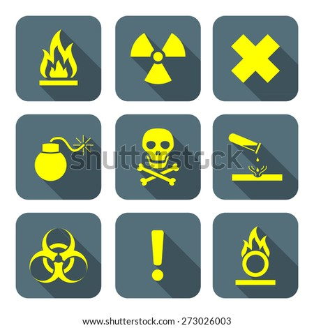 vector bright yellow color flat style hazardous waste symbols warning signs gray icons long shadows