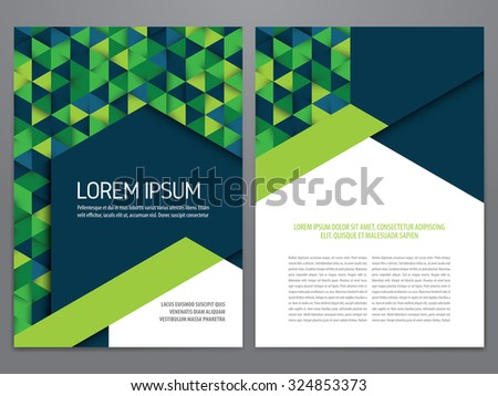 Vector brochure, annual report, flyer, magazine template. Modern blue and green geometric design. - stock vector