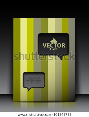 Vector brochure design. Speech box cut out shape - stock vector