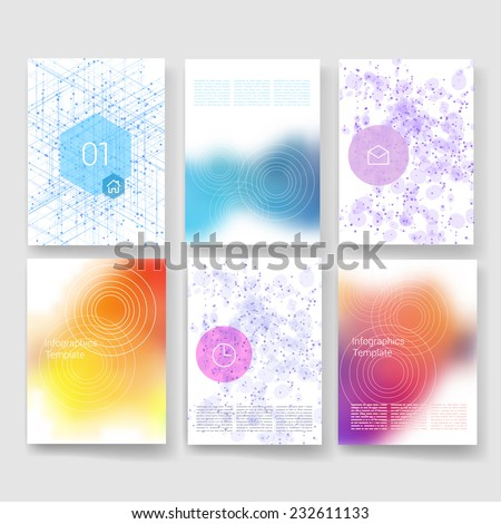 Vector brochure design templates generative pattern collection. Applications and Infographic Concept. Flyer, Brochure Design Templates set. Modern flat design icons for mobile or smartphone.  - stock vector