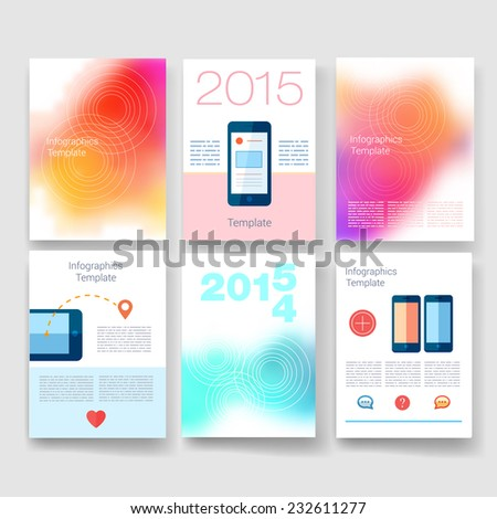 Vector brochure design templates mobile phone collection. Applications and Infographic Concept. Flyer, Brochure Design Templates set. Modern flat design icons for mobile or smartphone.  - stock vector