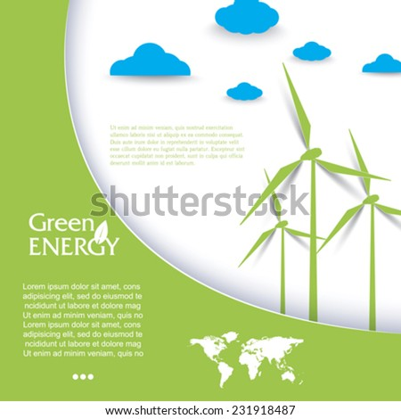 Vector brochure design with wind turbines, green energy concept.  Modern template - stock vector