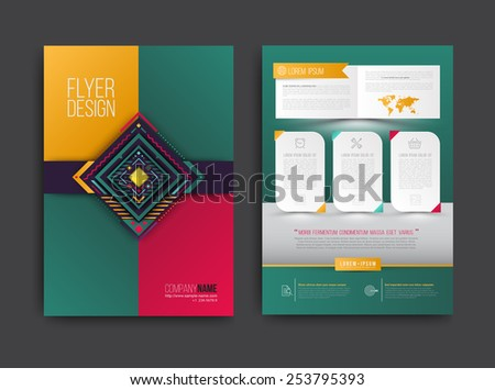Vector brochure, flyer, magazine cover and poster template. Vector illustration. - stock vector