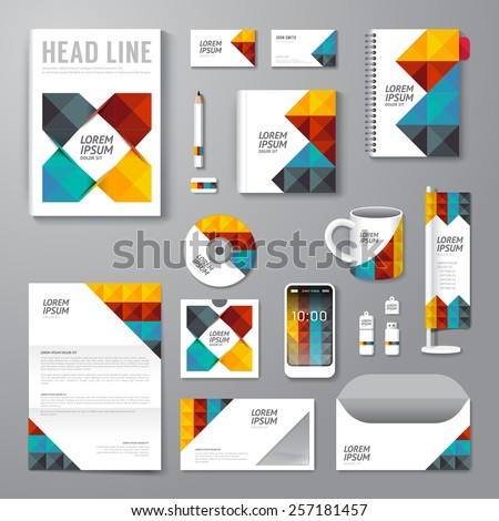 Vector brochure, flyer, magazine cover booklet poster design template/ layout business stationery annual report A4 size/ set of corporate identity template. - stock vector