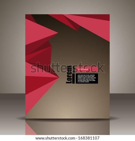 Vector  brochure, flyer, magazine cover & poster template. polygon triangle - stock vector