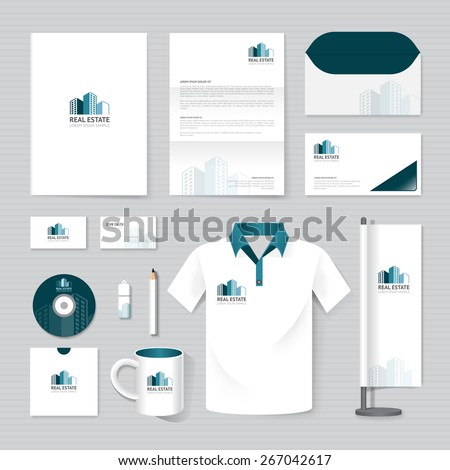 Vector brochure, flyer, magazine, folder, t-shirt,cover booklet poster mockup design template/ layout business stationery building, real estate logo  A4 size/ set of corporate identity template. - stock vector
