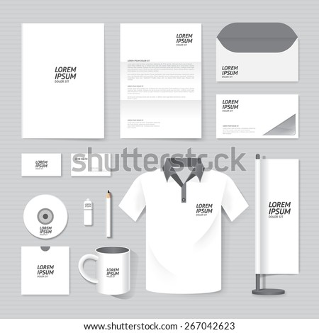 Vector brochure, flyer, magazine, folder, t-shirt,cover booklet poster mockup design template/ layout business stationery annual report A4 size/ set of corporate identity template. - stock vector