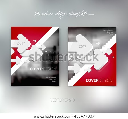 Vector brochure or booklet design template. Business concept. Flyer idea. White 3d arrows. - stock vector