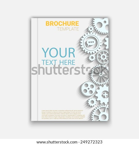 Vector brochure template design with cogwheels. Creative idea Eps10 vector for your design - stock vector