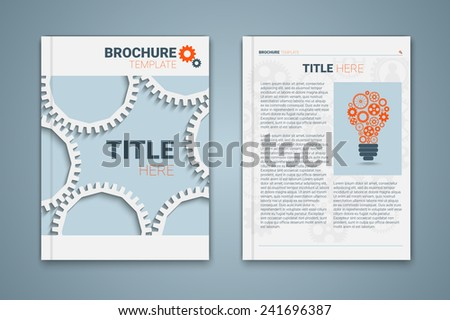 Vector brochure template design with cogwheels, light bulb. Creative idea Eps10 vector for your design - stock vector