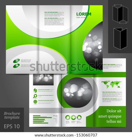 Vector brochure template design with green round elements. EPS 10 - stock vector
