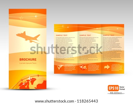 Vector brochure tri-fold layout design template airplane takeoff flight tickets air fly cloud sky orange color travel background - stock vector