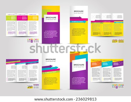 Vector Brochure Tri-fold Layout Design Template colorful set, cmyk color - stock vector
